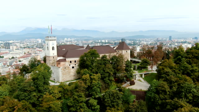 ljubljana castle - slovenia aerial - slovenia stock videos & royalty-free footage