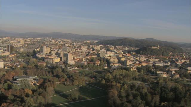 AERIAL Ljubljana cityscape / Slovenia