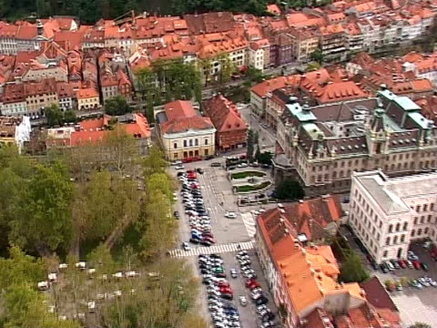 ljubljana from air - town square stock videos & royalty-free footage