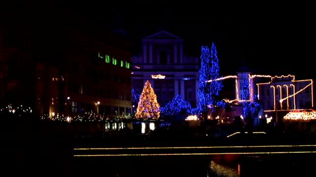 hd: ljubljana in christmas lights - ljubljana stock videos & royalty-free footage