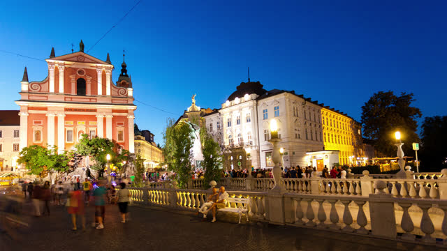 ljubljana slovenia timelapse by night - slovenia stock videos & royalty-free footage