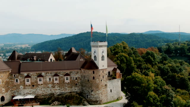 ljubljana town and medieval castle/ aerial - slovenia stock videos & royalty-free footage