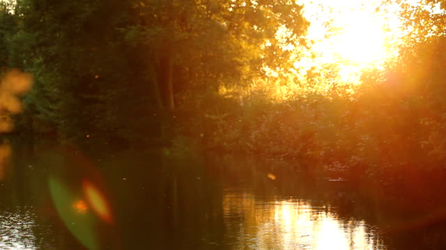 llangollen canal at sunset - canal stock videos & royalty-free footage