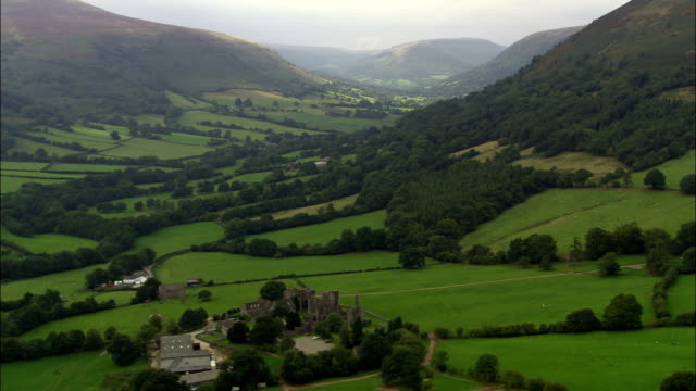 Llanthony Abbey  - Aerial View - Wales, Monmouthshire, Crucorney, United Kingdom