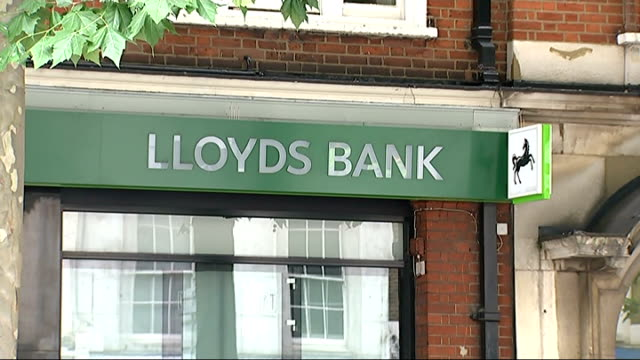lloyds bank hit with fine of 218 million pounds over libor scandal; england: london: ext lloyds bank branch various of 'lloyds bank' and horse logo... - man and machine stock videos & royalty-free footage