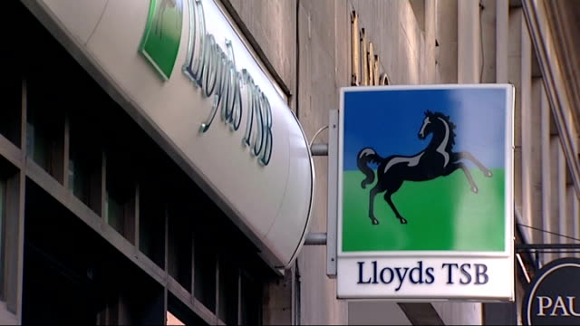 London EXT General views of Lloyds TSB Bank including name sign cashpoints sign in window showing interest rates