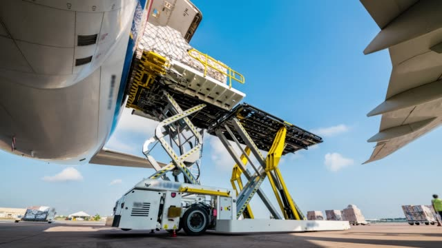 loading cargo for air freight logistic - forklift stock videos & royalty-free footage