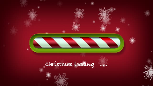 loading christmas. red and green web bar on dark red background with snowflakes - christmas lights stock videos & royalty-free footage