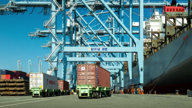 Loading Container Ship at Busy Port - Time Lapse