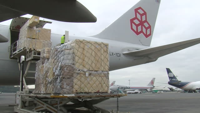 MS Loading luggage in cargo airplane at cargo center / Findel-Airport, Luxembourg, Luxembourg-City, Luxembourg