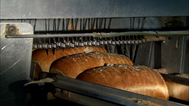 loaves of bread pass under an automated slicer in a bread factory. - bread stock videos & royalty-free footage