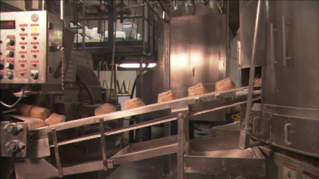 vídeos y material grabado en eventos de stock de loaves of bread travel along a conveyor belt. - cereal plant