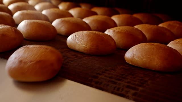 Loaves of fresh crusty bread on conveyor under sprinkler