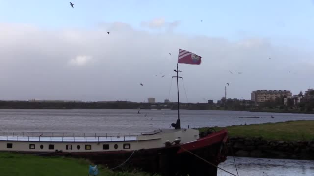 stockvideo's en b-roll-footage met lobster and prawn fisherman frank flanagan discusses the storm after securing his boat off renvyle pier near oranmore county galway builders securing... - steurgarnaal