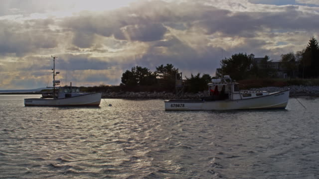 lobster boats in maine harbor slow motion - anchored stock videos & royalty-free footage