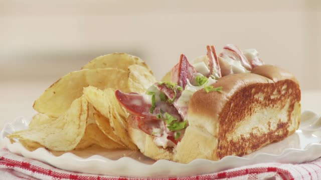 vídeos de stock e filmes b-roll de lobster rolls with chips - lagosta