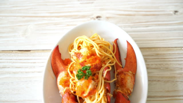 lobster spaghetti with shrimp egg - scampi seafood stock videos and b-roll footage