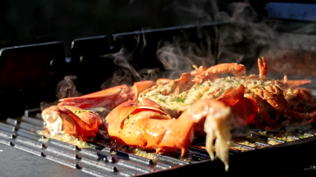lobster with chili butter on bbq grill - lobster seafood stock videos and b-roll footage