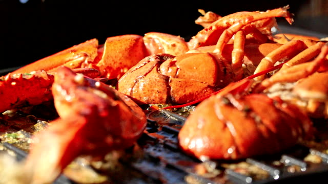 lobster with chili butter on bbq grill - lobster stock videos & royalty-free footage