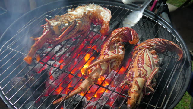 cu lobsters cooking on barbecue grill, ubud, bali, indonesia - ubud stock videos & royalty-free footage