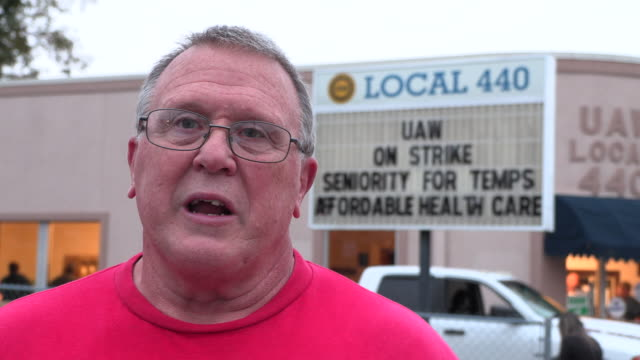 local 440 president kevin hutchinson answers questions after the end of a 40 day strike against gm ended when union members voted nationally to... - plant process stock videos & royalty-free footage