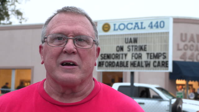uaw local 440 president kevin hutchinson answers questions after the end of a 40 day strike against gm ended when union members voted nationally to... - things that go together stock videos & royalty-free footage