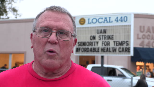 uaw local 440 president kevin hutchinson answers questions after the end of a 40 day strike against gm ended when union members voted nationally to... - end cap stock videos & royalty-free footage