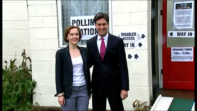 local and european elections: polling day; yorkshire: doncaster: sutton: labour party leader ed miliband and wife justine thornton leaving polling... - biggin hill stock videos & royalty-free footage