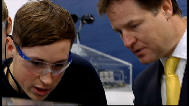 final day of campaigning scotland rosyth whitlock energy collaboration centre various of nick clegg mp chatting to apprentices clegg seen on camera... - last day stock videos & royalty-free footage