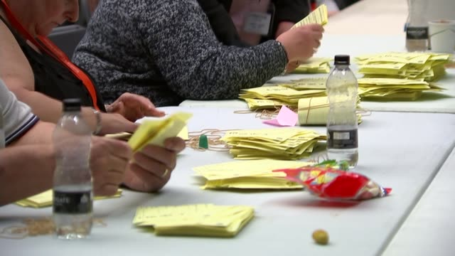 local and regional elections / london mayoral election results roundup england essex thurrock int officials at vote count votes being counted... - thurrock stock videos and b-roll footage