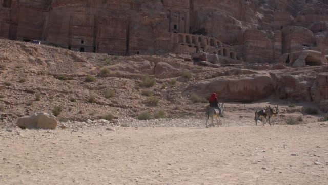 Local bedouin riding donkey in front of Royal Tombs in Petra, Jordan