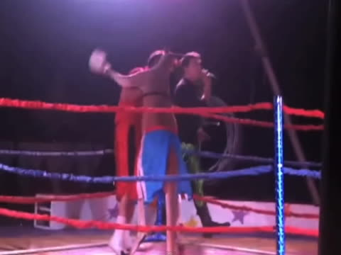 local boxing match mixes it up by asking for volunteers from the audience to fight a kangaroo. a woman steps forward, then falls on her face and then... - punching stock videos & royalty-free footage