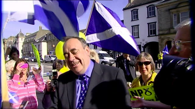 local election campaign in scotland iain gray interview sot helicopter lands in grounds of hotel various shots of alex salmond shaking hands with... - calton hill national monument stock videos and b-roll footage