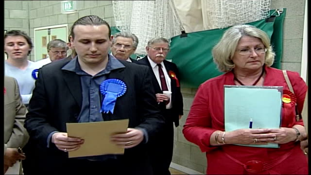 crawley int conservative and labour candidates opening up envelopes to decide who wins vote after initial results were tied closeup 'election'... - großbuchstabe stock-videos und b-roll-filmmaterial