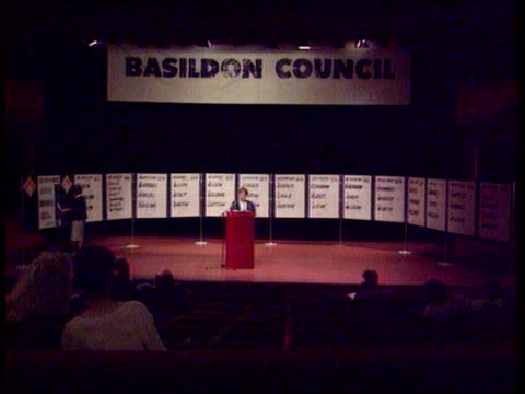 local election results; england essex basildon tgv stage on which local election results are being announced and recorded cbv state of the parties... - basildon stock videos & royalty-free footage