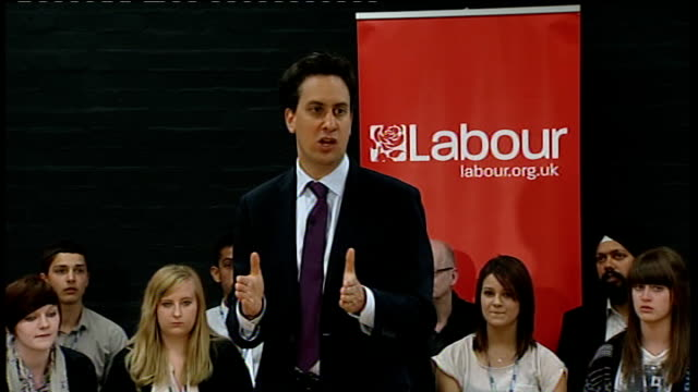 Ed Miliband answers questions in Gravesham ENGLAND Kent Gravesham PHOTOGRAPHY** Ed Miliband MP speech SOT Introductory remarks / these are really...
