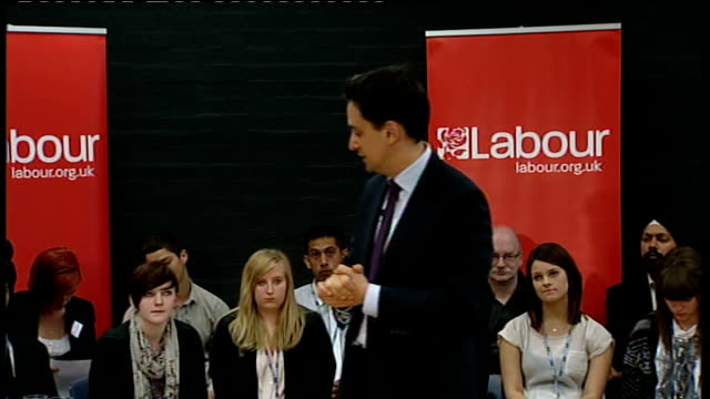 Ed Miliband answers questions in Gravesham Miliband answering questions SOT On the deficit our plan was to half the deficit over four years / bankers...