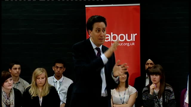 local elections / av referendum: ed miliband answers questions in gravesham; miliband answering questions sot - on cost of education / university... - doing a favour stock videos & royalty-free footage