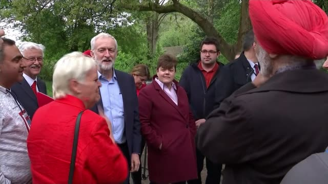 both main parties lose seats results roundup england shropshire near telford ironbridge dale end park ext jeremy corbyn cheered by local supporters... - jeremy corbyn stock videos & royalty-free footage