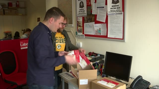 both main parties lose seats results roundup uk london ilford wes streeting mp opening box of labour campaign leaflets and interview england london... - shears stock videos & royalty-free footage