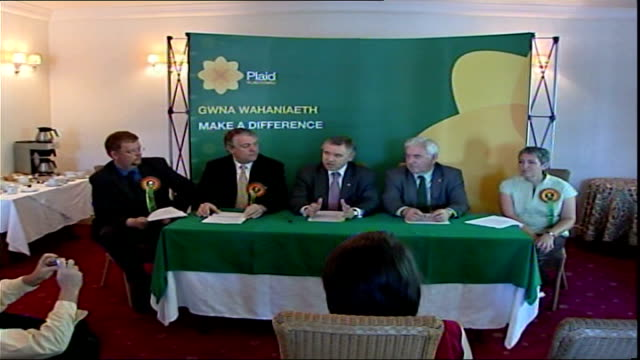 campaigning across uk wales int ieuan wyn jones am and others at plaid cymru press conference sot - plaid stock videos and b-roll footage