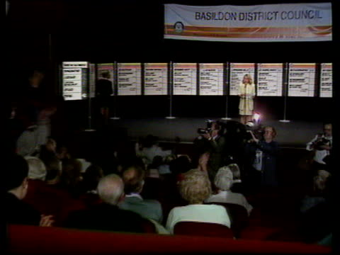 local elections - conservatives lose over 550 seats; england: essex: basildon: tls woman speaking on stage at count where labour took control of... - basildon stock videos & royalty-free footage