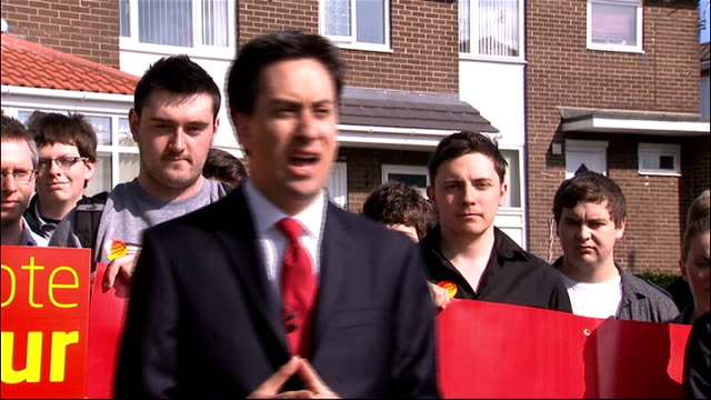 Ed Miliband campaigning in Newcastle Ed Miliband MP speech SOT Nick Clegg promised people in Newcastle he would stand up for young people / Clegg has...