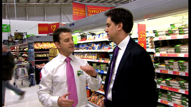 ed miliband visits asda supermarket in greenhithe england kent greenhithe photography** ed miliband mp out of car and arriving in asda supermarket... - ed miliband stock-videos und b-roll-filmmaterial