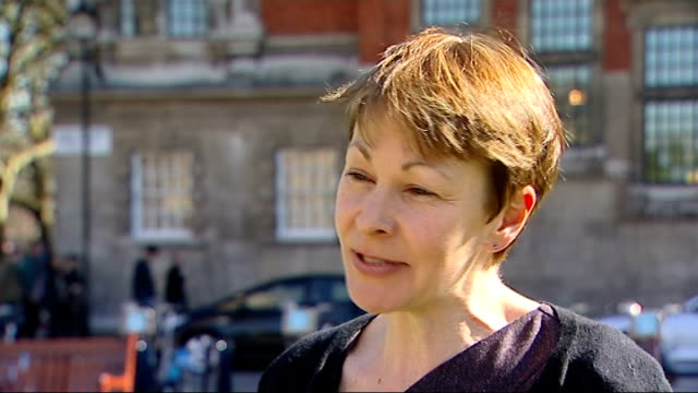 interview caroline lucas mpmp; england: london: westminster: ext caroline lucas mp interview sot / set-up shot of lucas walking towards and past - mp stock-videos und b-roll-filmmaterial