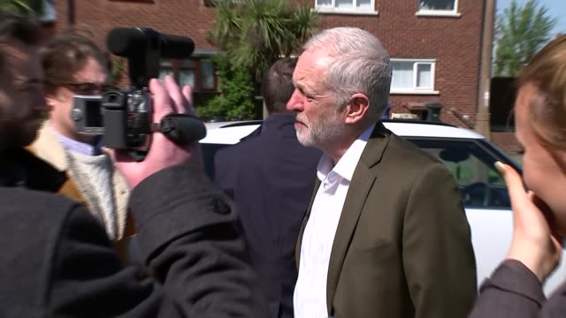 jeremy corbyn campaigning in thurrock and interview further shots of corbyn with party workers and to car ahead of departure - thurrock stock videos and b-roll footage