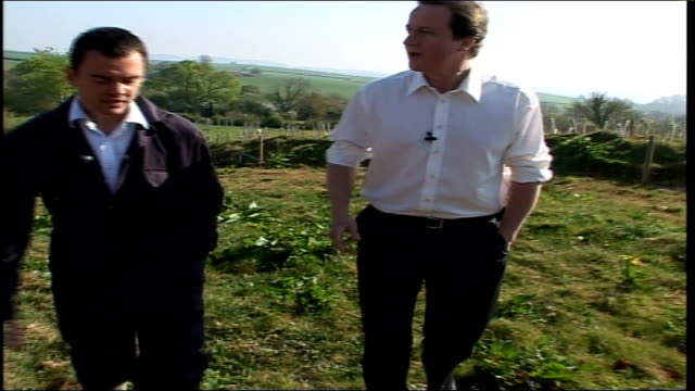 local elections/ labour electioneering/ questions over gordon brown as potential leader devon paignton organic occombe farm david cameron mp along in... - ärmel stock-videos und b-roll-filmmaterial