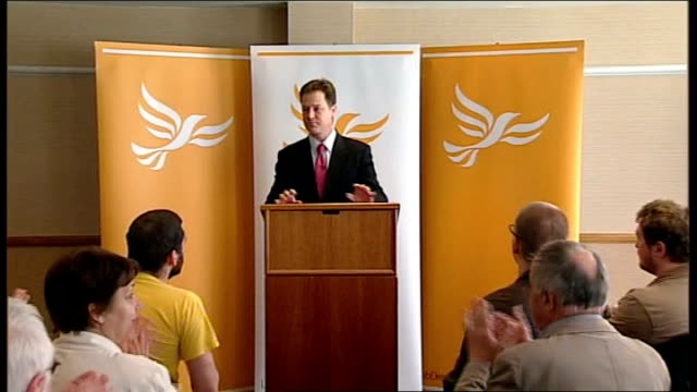 nick clegg urges activists to take the fight to the conservatives england yorkshiresheffield int nick clegg mp along to podium as audience applaud sot - sheffield stock videos and b-roll footage