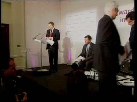 local elections postponed because of foot and mouth disease outbreak file held millbank 1432001 ms blair along to microphone in press conference... - chancellor of the exchequer stock videos and b-roll footage