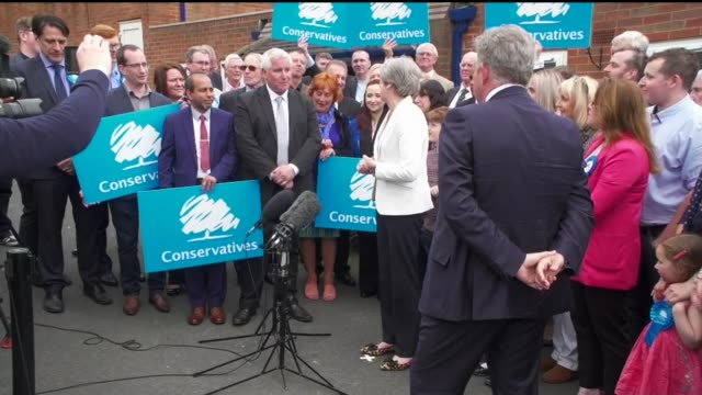 results roundup theresa may in sedgley cutaways england west midlands dudley sedgley ext cutaways of theresa may mp arrival and speaking to... - west midlands stock videos & royalty-free footage